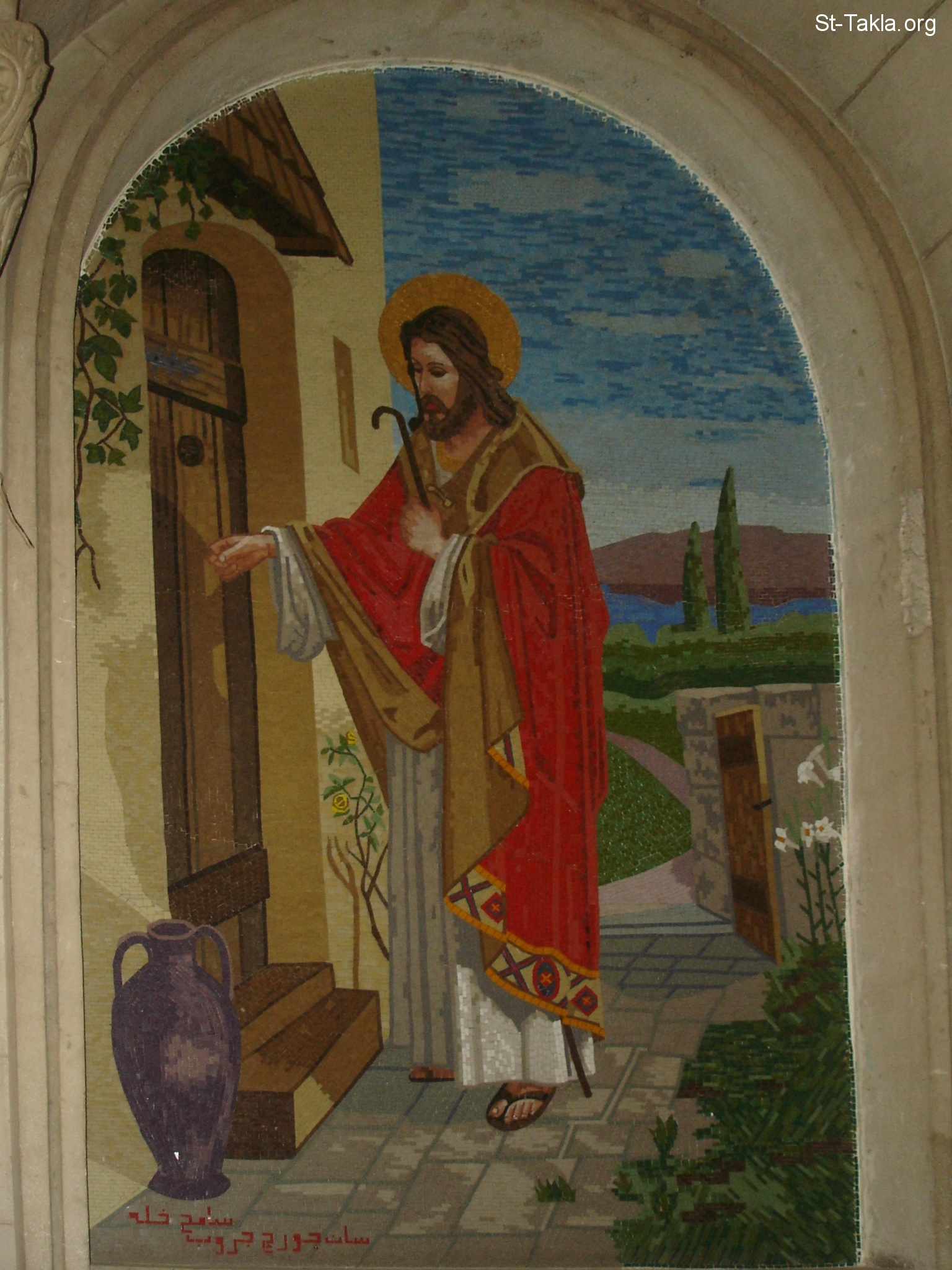 Image Mosaic Of Jesus Christ Knocking On The Door صورة