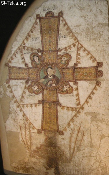 St-Takla.org Image: Cross with the bust of Christ and Four Living Creatures (Maiestas Crucis), 11th century, tempera on plaster, 262 � 159 cm (103.1 � 62.6 in), National Museum, Warsaw (source: Dorota Folga-Januszewska), Faras Cathedral ���� �� ���� ������ ����: ���� ������ �� ���� ����� ����� ������ �� ������� ������� ����� ������ (������� ������)� ����� ������ ��ѡ ����� ���� ��� ���� ����� 262�159 (103.1�62.6 ����)� ������ �� ������ ������ ����� (������: ���� ������ ����� ����������)� ��������� �����