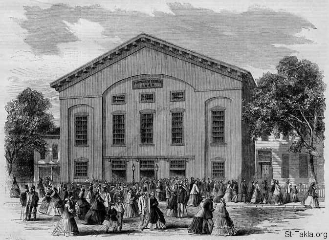 St-Takla.org Image: Plymouth Church (Henry Ward Beecher's), Brooklyn, New York, a wood engraving sketched by C. H. Wells and published in Harper's Weekly, August 1866 ���� �� ���� ������ ����: ����� ������ (�����ӡ ������ ������)� ��� ����� ���� ���� ����ѡ �� ������� ��� ����