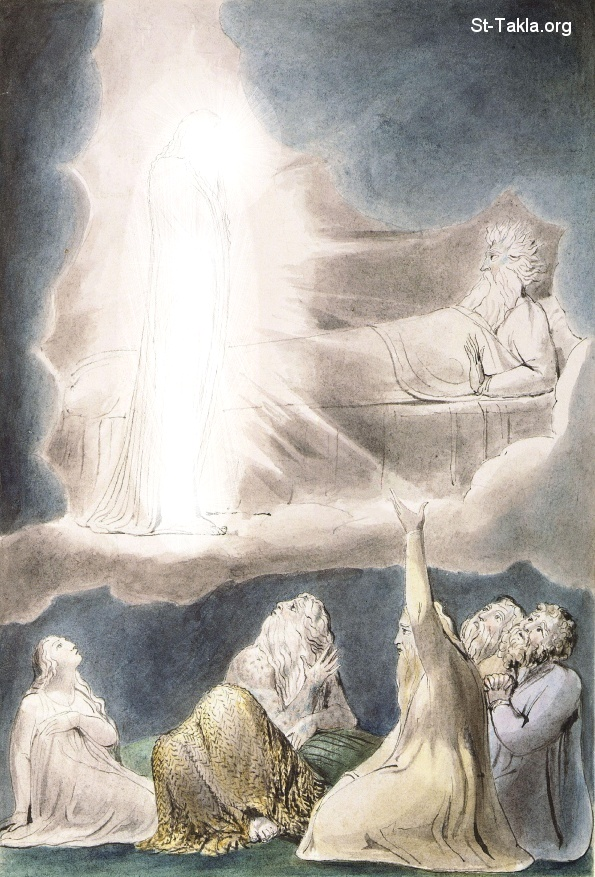 "St-Takla.org         Image: William Blake - Illustrations to the Book of Job, The Butts Set, object 9 (Butlin 550.9) ""The Vision of Eliphaz"" - Job 4:12-17 ����: �� ����� ��������� �� ��� ���� - �� ��� ������ ������ ���� - ���� ������ - ��� ���� 4: 12-17"