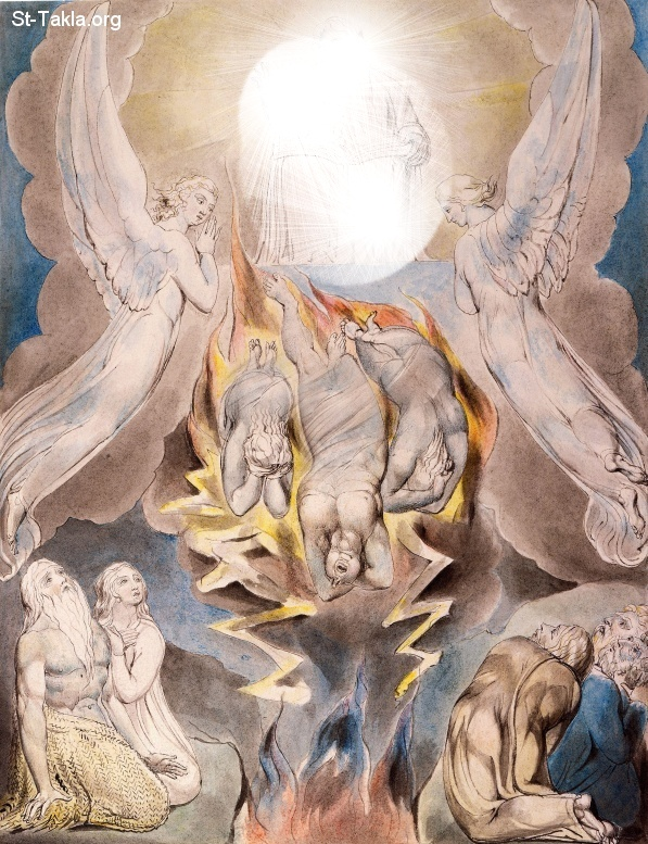 "St-Takla.org         Image: William Blake - Illustrations to the Book of Job, The Butts Set, object 16 (Butlin 550.16) ""The Fall of Satan"" ����: �� ����� ��������� �� ��� ���� - �� ��� ������ ������ ���� - ���� ������� ��� ����� ����"