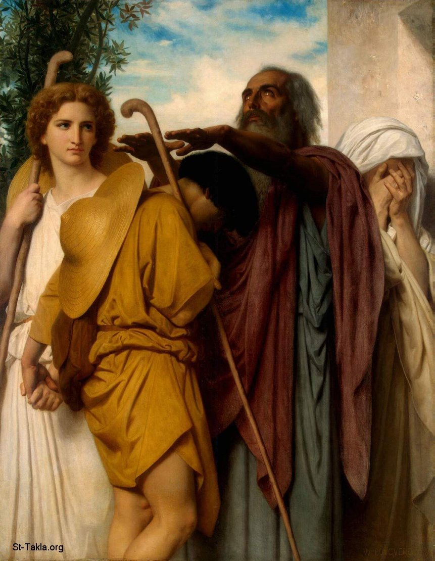 St-Takla.org Image: Adolphe William Bouguereau - Tobias Saying Goodbye to his Father, shown also Archangel Gabriel ���� �� ���� ������ ����: ���� ������ ������ ������ ����� ���� ���� ����ʡ ������� ������� ���� �� �����ɡ 1860
