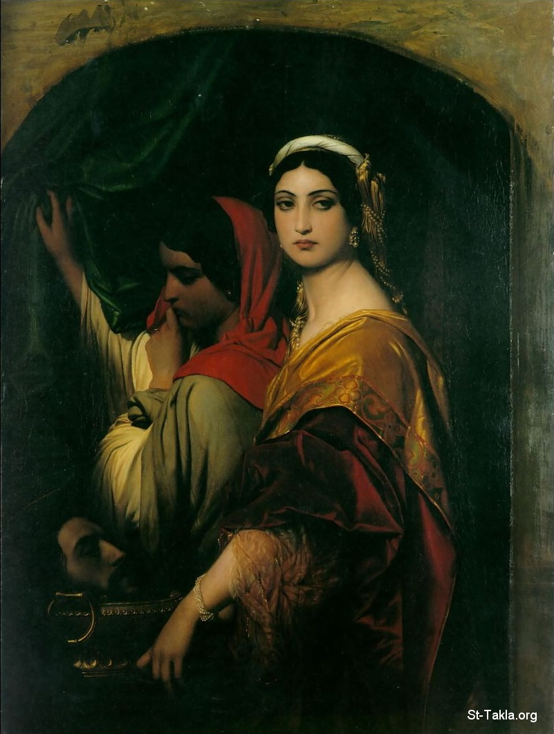 St-Takla.org Image: Herodias with Salome her daughter (the head of Saint John the Baptist the martyr on a plate), painting by Paul Delaroche 1843 ���� �� ���� ������ ����: ���� ������� ������� ������ �� ������ (���� ������ ����� �������� ��� ���)� ��� ������ ��� ������� 1843