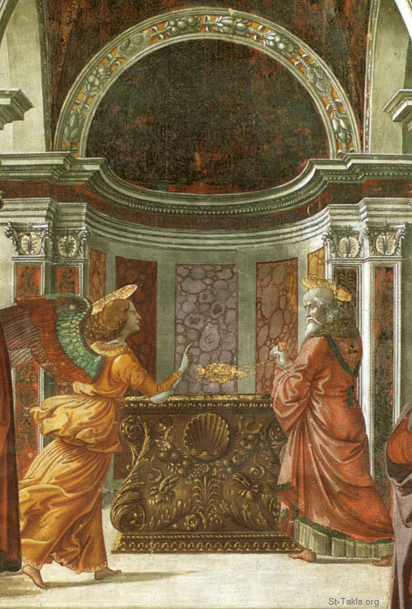 St-Takla.org Image: Annunciation of the Angel to Zechariah painting by Domenico Ghirlandaio (1449 � 11 January 1494), date: (1490, fresco in the Tornabuoni Chapel, Florence) - Cappella tornabuoni frescoes in Florence. Annuncio dell'angelo a San Zaccaria - details. ���� �� ���� ������ ����: ���� ����� ������ �����ǡ ��� ������ �������� ���������� (1449 - 11 ����� 1494) - ����� ������ (1490)� ���� ������ ������ �� ����� ��������� ������� - ������.