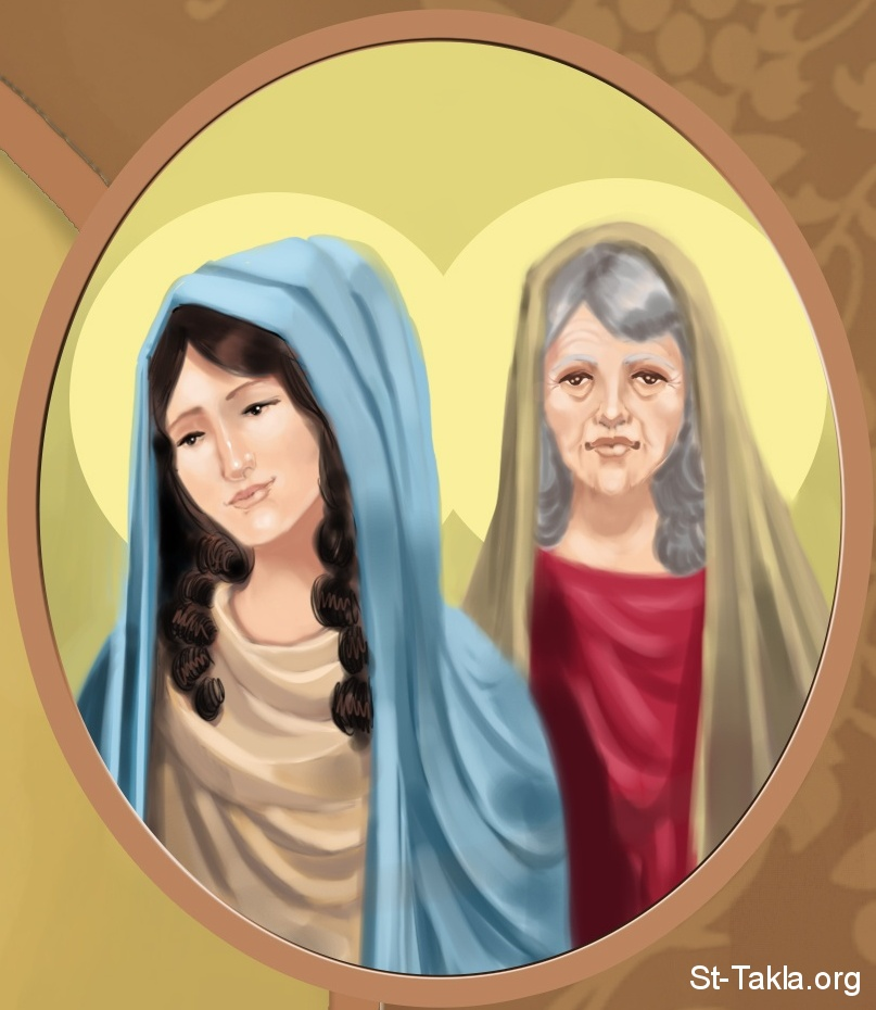 St-Takla.org Image: St. Timothy's grandmother Lois and His mother Eunice, details from St. Timothy's icon, 2012, used with permission - by Mina Anton صورة في موقع الأنبا تكلا: لوئيس جدة تيموثاوس، ووالدته أفنيكى، تفاصيل من لوحة القديس تيموثاوس، 2012، موضوعة بإذن - رسم الفنان مينا أنطون