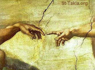 St-Takla.org Image: The Creation of Adam is a fresco on the ceiling of the Sistine Chapel, painted by Michelangelo Buonarroti circa 1511, fresco details ���� �� ���� ������ ����: ��� ��� ������ ����� ����� �� ����� ������ (1511)� ������ �� ��������