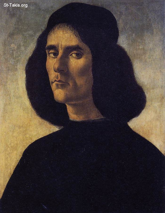 St-Takla.org         Image: Painting by Alessandro Botticelli (1444 1510) - Portrait of a Man : Michele Marullo Tarcaniota ����: ���� ������ ��������� ��������� (1444-1510) - ���� ���: ����� ������ ����������
