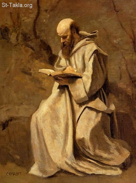 St-Takla.org Image: Monk in White, Seated, Reading, prainting by Jean-Baptiste-Camille Corot 1796-1875 ���� �� ���� ������ ����: ���� ������ ��� �������� ����� ���� 1796-1875� ���� ����� ���� ���� ���� ��� ����