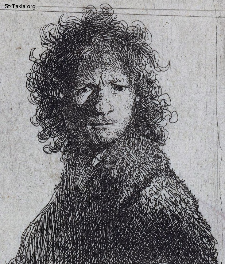St-Takla.org         Rembrandt van Rijn 1606-1669, Harmensz, Netherlands - One of the artist's earliest prints belongs to a series of etchings in which he portrayed himself with a range of extreme facial expressions. Here he has depicted himself in an angry mood. He appears to have turned his head with sudden violence, giving the picture a sense of spontaneity. Rembrandt s face is partly shaded. His unkempt hair and swarthy fur coat accentuate the dark look on his face صورة: للفنان رامبران فان ريجين، لوحة لنفسه وهو غاضب - حفر قوالب - 1630