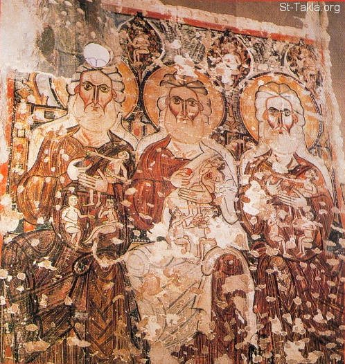 St-Takla.org Image: The Old Testament Patriarchs (Abraham, Isaac, and Jacob) - Fresco at the southern side of St. Mary Church, The Syrian's Coptic Monastery, Wady El Natroun, Egypt, dated approx. 11th century - Coptic icon from the icons that represents figures and events of the Old Testament ���� �� ���� ������ ����: ������ �������� �� ����� ������: ������� ����� ������ - ��� ����� ����� ��� ������ ������� ������ ������ ������� ���� ������� ������ ����� ������� ��ѡ ���� ���� ����� ������ ��� - ������ ����� �� ������� ���� ������ ������ ����� ������
