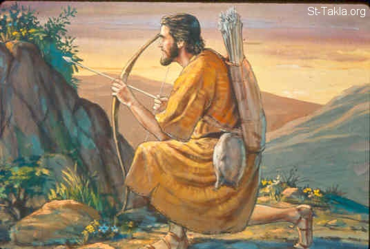 St-Takla.org Image: Esau the skillful hunter, and a man of the field (Genesis 25:27) صورة في موقع الأنبا تكلا: عيسو صياد (تكوين 25: 27)