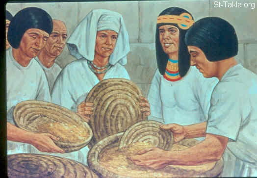 St-Takla.org Image: All countries came to Joseph in Egypt to buy grain, because the famine was severe in all lands (Genesis 41:53-57) صورة في موقع الأنبا تكلا: ذهاب الناس ليوسف لشراء قمح (تكوين 41: 53-57)