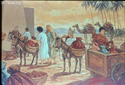 St-Takla.org Image: Joseph gave them carts, according to the command of Pharaoh, and he gave them provisions for the journey (Genesis 45:21-24) صورة في موقع الأنبا تكلا: يوسف يرسل طعاما على عجلات (تكوين 45: 21-24)