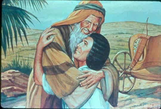 St-Takla.org Image: Joseph fell on Jacob his father's neck, and wept on his neck a good while (Genesis 46:29-30) ���� �� ���� ������ ����: ���� ����� ���� ����ȡ ��� ��� ���� ���� ��� ���� ������ (����� 46: 29-30)