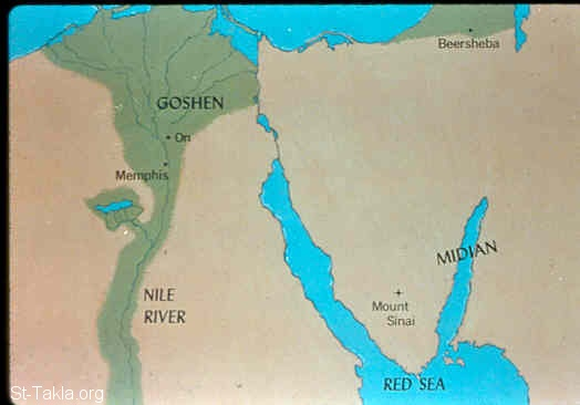 St-Takla.org Image: Map: The sons of Israel in Egypt (Exodus 1:1-6) ���� �� ���� ������ ����: ����� (����� ������� �� ���) (���� 1: 1-6)