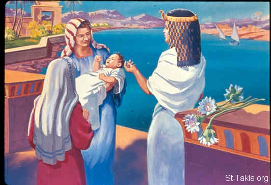 "St-Takla.org Image: Then Pharaoh's daughter said to Moses' mother, ""Take this child away and nurse him for me, and I will give you your wages."" So the woman took the child and nursed him (Exodus 2:9) صورة في موقع الأنبا تكلا: والدة موسى تصير مرضعة له (خروج 2: 9)"