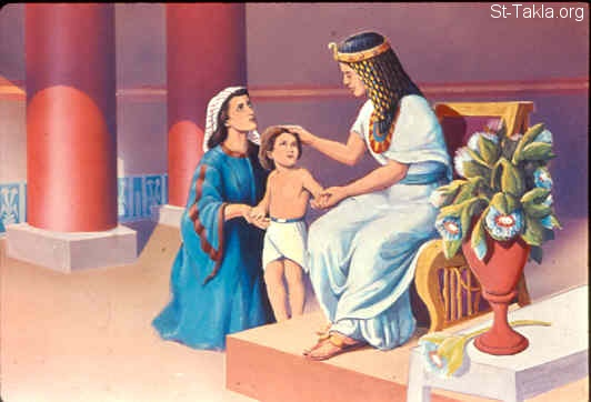 "St-Takla.org Image: And the child grew, and his mother brought him to Pharaoh's daughter, and he became her son. So she called his name Moses, saying, ""Because I drew him out of the water."" (Exodus 2:10) صورة في موقع الأنبا تكلا: موسى يعيش عند ابنة فرعون السعيدة به (خروج 2: 10)"