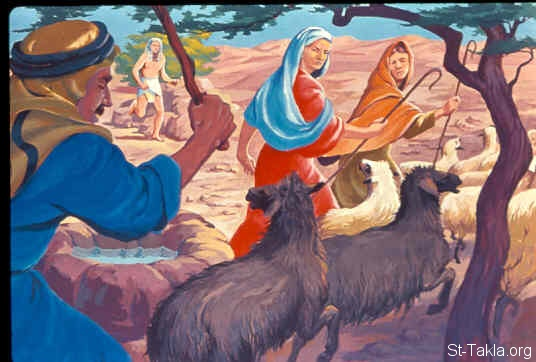 St-Takla.org Image: Then the shepherds came and drove Midian's seven daughters away (Exodus 2:17) صورة في موقع الأنبا تكلا: الرعاة يطردون بنات الكاهن (خروج 2: 17)