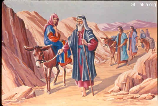 St-Takla.org Image: Moses heads back to the land of Egypt (Exodus 4:18-23) صورة في موقع الأنبا تكلا: موسى يعود لأرض مصر (خروج 4: 18-23)