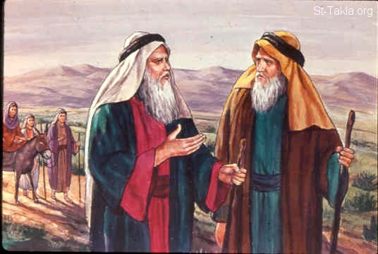 St-Takla.org Image: Aaron went into the wilderness (on the mountain of God) to meet Moses, and kissed him (Exodus 4:27, 28) صورة في موقع الأنبا تكلا: هارون يذهب لاستقبال موسى (خروج 4: 27، 28)