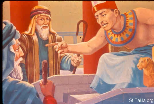 St-Takla.org Image: Pharaoh threatens Moses and Aaron (Exodus 10:24-29) ���� �� ���� ������ ����: ����� ����� ����� ������ (���� 10: 24-29)