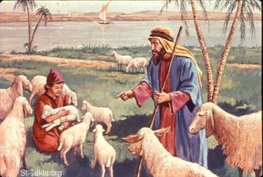 "St-Takla.org Image: Then Moses called for all the elders of Israel and said to them, ""Pick out and take lambs for yourselves according to your families, and kill the Passover lamb"" (Exodus 12:21) ���� �� ���� ������ ����: ��� ��� ���� (���) (���� 12: 21)"