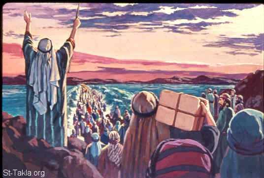 St-Takla.org Image: Then Moses stretched out his hand over the sea; and the LORD caused the sea to go back by a strong east wind all that night, and made the sea into dry land, and the waters were divided (Exodus 14:21-22) صورة في موقع الأنبا تكلا: تمجد قوة الله في شق البحر (خروج 14: 21-22)