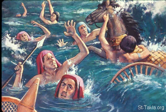 St-Takla.org Image: Then the waters returned and covered the chariots, the horsemen, and all the army of Pharaoh that came into the sea after them. Not so much as one of them remained (Exodus 14:23-31) صورة في موقع الأنبا تكلا: غرق المصريين في وسط البحر (خروج 14: 23-31)