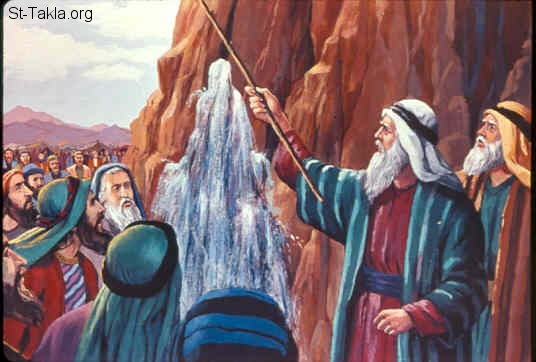 "St-Takla.org Image: And the LORD said to Moses, ""Go on before the people, and take with you some of the elders of Israel. Also take in your hand your rod with which you struck the river, and go. Behold, I will stand before you there on the rock in Horeb; and you shall strike the rock, and water will come out of it, that the people may drink."" And Moses did so in the sight of the elders of Israel (Exodus 17:5-7) صورة في موقع الأنبا تكلا: نزول الماء من صخرة حوريب (خروج 17: 5-7)"