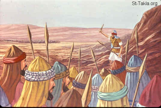 St-Takla.org Image: Joshua son of Nun leads the Israelites in the war (Exodus 17:8-10) ���� �� ���� ������ ����: ���� �� ��� ���� ������������ ��� ����� (���� 17: 8-10)