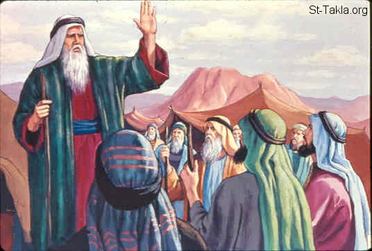 St-Takla.org Image: Moses speaks to the people (Exodus 19:7) ���� �� ���� ������ ����: ���� ���� ���� ����� (���� 19: 7)