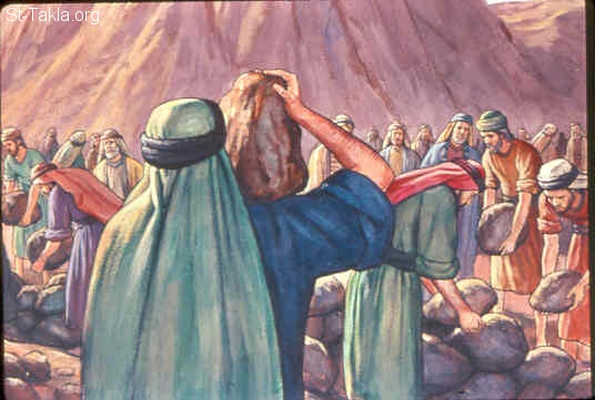 St-Takla.org Image: Arrangements before the LORD's coming down upon Mount Sinai in the sight of all the people (Exodus 19:10-15) صورة في موقع الأنبا تكلا: الترتيب لظهور الله على الجبل (خروج 19: 10-15)