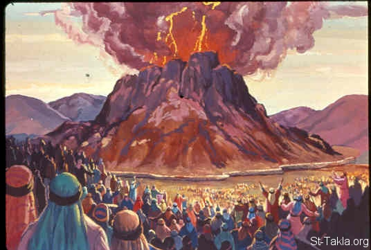 St-Takla.org Image: Then it came to pass on the third day, in the morning, that there were thunderings and lightnings, and a thick cloud on the mountain; and the sound of the trumpet was very loud, so that all the people who were in the camp trembled.. Now Mount Sinai was completely in smoke, because the LORD descended upon it in fire. Its smoke ascended like the smoke of a furnace, and the whole mountain quaked greatly (Exodus 19:16-25) صورة في موقع الأنبا تكلا: الرب يظهر على جبل سيناء على هيئة نار (خروج 19: 16-25)