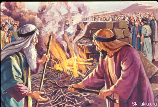 St-Takla.org Image: Then Moses took the calf which they had made, burned it in the fire, and ground it to powder; and he scattered it on the water and made the children of Israel drink it. (Exodus 32:20) صورة في موقع الأنبا تكلا: احتراق العجل الذهبي (خروج 32: 20)