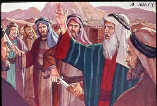 "St-Takla.org Image: then Moses stood in the entrance of the camp, and said, ""Whoever is on the Lord's side; come to me."" And all the sons of Levi gathered themselves together to him. And he said to them, ""Thus says the LORD God of Israel: 'Let every man put his sword on his side, and go in and out from entrance to entrance throughout the camp, and let every man kill his brother, every man his companion, and every man his neighbor.' "" (Exodus 32:26) صورة في موقع الأنبا تكلا: بنى لاوي يقتلون من كان يعبد العجل (خروج 32: 26)"