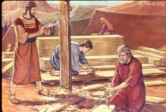 St-Takla.org Image: Everyone who offered an offering of silver or bronze brought the Lord's offering. And everyone with whom was found acacia wood for any work of the service, brought it (Exodus 35:24) صورة في موقع الأنبا تكلا: تقدمات من الأخشاب (خروج 35: 24)