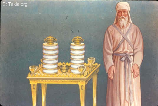 St-Takla.org Image: He made the table of acacia wood; two cubits was its length, a cubit its width, and a cubit and a half its height (Exodus 37:10-16) صورة في موقع الأنبا تكلا: وصنعت المائدة من خشب السنط (خروج 37: 10-16)