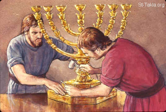 St-Takla.org Image: He also made the lampstand of pure gold; of hammered work he made the lampstand. Its shaft, its branches, its bowls, its ornamental knobs, and its flowers were of the same piece (Exodus 37:17-24) صورة في موقع الأنبا تكلا: وصنعت المنارة من ذهب (خروج 37: 17-24)