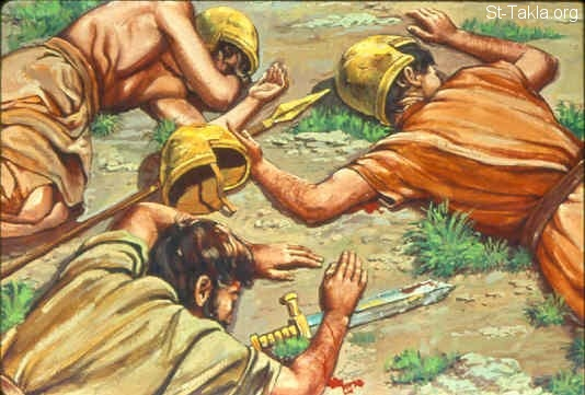 St-Takla.org Image: Then the Amalekites and the Canaanites who dwelt in that mountain came down and attacked the Israelites, and drove them back as far as Hormah (Numbers 14:44-45) صورة في موقع الأنبا تكلا: العمالقة يهزمون الإسرائيليين (العدد 14: 44-45)