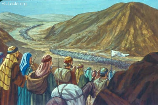 St-Takla.org Image: Then they journeyed from Mount Hor by the Way of the Red Sea, to go around the land of Edom; and the soul of the people became very discouraged on the way (Numbers 21:4) صورة في موقع الأنبا تكلا: وارتحلوا إلى آدوم (العدد 21: 4)