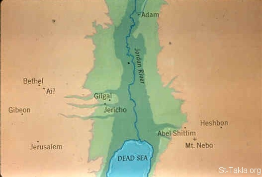 St-Takla.org Image: A map of the land of Jordan (Numbers 25:1) ���� �� ���� ������ ����: ����� ���� ������ (����� 25: 1)