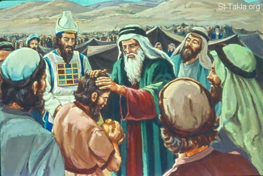 St-Takla.org Image: So Moses did as the LORD commanded him. He took Joshua and set him before Eleazar the priest and before all the congregation. And he laid his hands on him and inaugurated him, just as the LORD commanded by the hand of Moses (Numbers 27:22-23) صورة في موقع الأنبا تكلا: موسى يضع يديه على يشوع (العدد 27: 22-23)