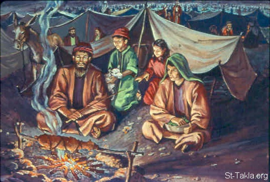St-Takla.org Image: The people camped in Gilgal (Joshua 4:19) ���� �� ���� ������ ����: ����� ����� �� ������� (���� 4: 19)