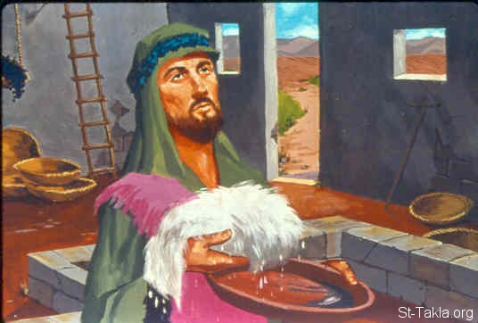 St-Takla.org Image: And it was so. When he rose early the next morning and squeezed the fleece together, he wrung the dew out of the fleece, a bowlful of water (Judges 6:38) صورة في موقع الأنبا تكلا: طل على الجزة وجفاف عل الأرض (القضاة 6: 38)