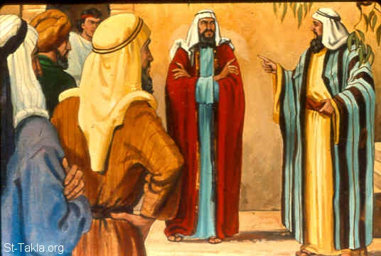 "St-Takla.org Image: And his mother's brothers spoke all these words concerning him in the hearing of all the men of Shechem; and their heart was inclined to follow Abimelech, for they said, ""He is our brother."" (Judges 9:3) صورة في موقع الأنبا تكلا: فمال قلب أخوة أم أبيمالك وراءه (القضاة 9: 3)"