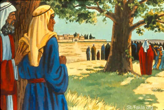 St-Takla.org Image: All the men of Shechem gathered together, all of Beth Millo, and they went and made Abimelech king beside the terebinth tree at the pillar that was in Shechem (Judges 9:6) صورة في موقع الأنبا تكلا: أهل شكيم يتوجون أبيمالك ملكًا (القضاة 9: 6)