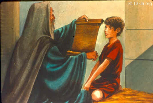 St-Takla.org Image: Eli prepares Samuel: But Samuel ministered before the LORD, even as a child, wearing a linen ephod. (1 Samuel 2:18) صورة في موقع الأنبا تكلا: عالي يعد صموئيل للرب (صموئيل الأول 2: 18)