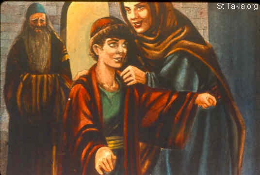 St-Takla.org Image: Moreover Samuel's mother used to make him a little robe, and bring it to him year by year when she came up with her husband to offer the yearly sacrifice. (1 Samuel 2:19) صورة في موقع الأنبا تكلا: حنة تعطى صموئيل جبة (صموئيل الأول 2: 19)
