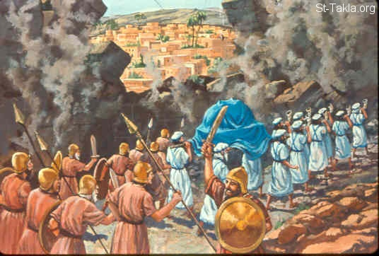 "St-Takla.org Image: And when the people had come into the camp, the elders of Israel said, ""Why has the LORD defeated us today before the Philistines? Let us bring the ark of the covenant of the LORD from Shiloh to us, that when it comes among us it may save us from the hand of our enemies."" So the people sent to Shiloh, that they might bring from there the ark of the covenant of the LORD of hosts, who dwells between the cherubim. And the two sons of Eli, Hophni and Phinehas, were there with the ark of the covenant of God. And when the ark of the covenant of the LORD came into the camp, all Israel shouted so loudly that the earth shook. Now when the Philistines heard the noise of the shout, they said, ""What does the sound of this great shout in the camp of the Hebrews mean?"" Then they understood that the ark of the LORD had come into the camp. (1 Samuel 4:3-6) صورة في موقع الأنبا تكلا: تابوت عهد الرب في الحرب (صموئيل الأول 4: 3-6)"