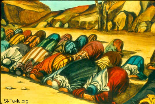 "St-Takla.org Image: And Samuel said, ""Gather all Israel to Mizpah, and I will pray to the LORD for you."" So they gathered together at Mizpah, drew water, and poured it out before the LORD. And they fasted that day, and said there, ""We have sinned against the LORD."" And Samuel judged the children of Israel at Mizpah. (1 Samuel 7:5-6) صورة في موقع الأنبا تكلا: الناس تتعبد في المصفاة (صموئيل الأول 7: 5-6)"